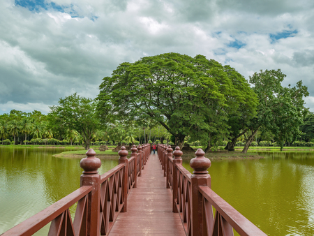 Wooden Bridge in sukhothai historical park,Sukhothai city Thailand
