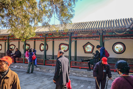 beijing, China - 26 February 2017 : Unacquainted Chinese people or tourist walking at Summer palace park in Beijing the capital of China