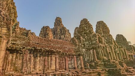 bayon face in bayon temple angkor wat siem reap cambodia,wonder of the world Banco de Imagens