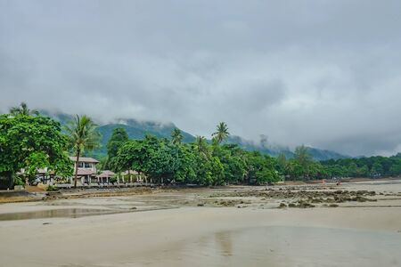 Beautiful Tropical Beach on Koh chang in the morning and rainy Day Trat Thailand