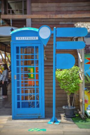 Vintage Call Box with mock up sign Post in the vintage villa in thailand