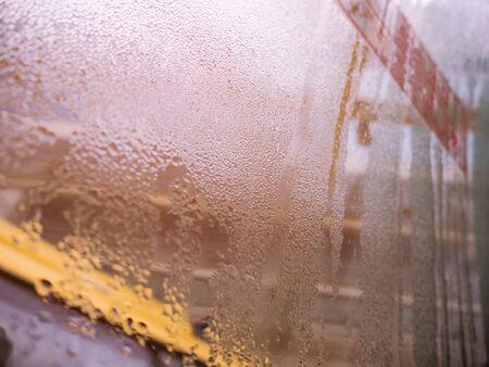 Rain water drop on the Bus window Stok Fotoğraf