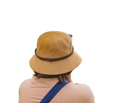 Back of Senior women traveler on isolated background