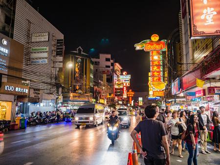 Bangkok/Thailand- 15 November 2018;Unacquainted Thai people or tourist walking in Bangkok China town Thailand,Bangkok China Town Street Food Heaven For Tourists