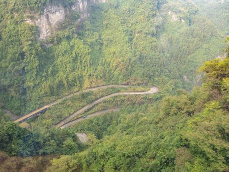The View of curves road from cable car to tianmen mountain in zhangjiajie city china.Tianmen mountain cable car the longest cableway in the world.