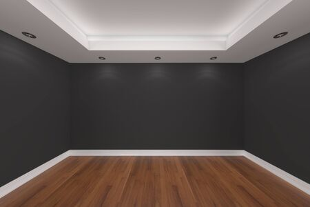 홈 인테리어 빈 방 컬러 벽 렌더링 나무 바닥으로 장식되어 있습니다.