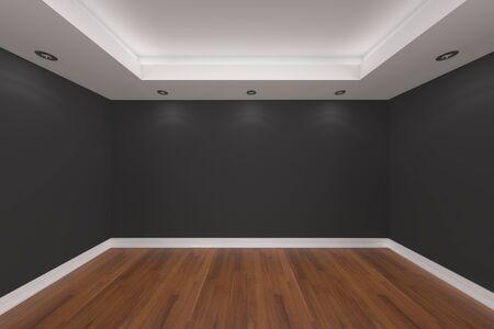 Inicio representaci�n interior con pared vac�a sala de color y decorado con suelos de madera.