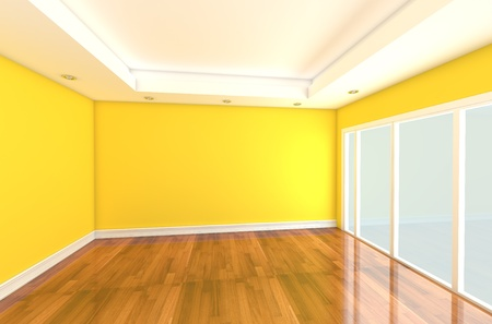 Empty room decorated yellow wall and wood floor with glass door Stock Photo - 11465550