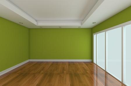 Empty Room decorada de color de pared y piso de madera con puertas de vidrio