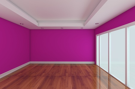 wallpaper wall: Empty Room decorated color wall and wood floor with glass doors Stock Photo
