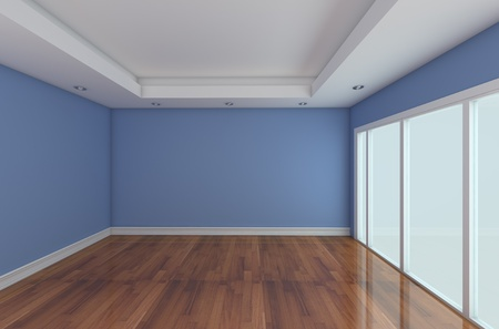 Empty Room decorated blue wall and wood floor with glass doors