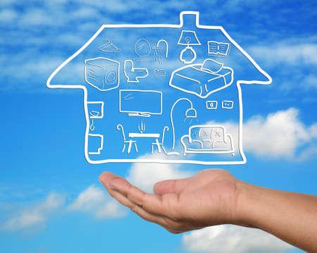 hand open HomeFurniture plan. Stock Photo - 11727912
