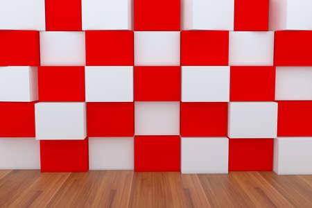ebox: 3d casella vuota rosso e bianco con pavimento in legno. Archivio Fotografico