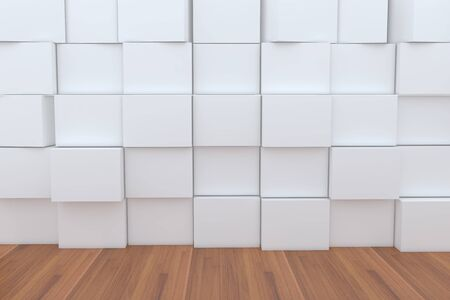 ebox: 3D Blank White Box With Wood Floor For Backgrounds. Stock Photo