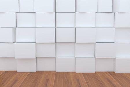 ebox: 3D Box bianca vuota con pavimento in legno per gli sfondi.