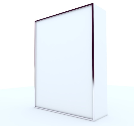 blank box display new design aluminum frame template for design work,isolate on white background. photo