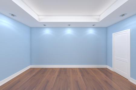 나무 바닥 빈 방 색 벽과 장식 문 홈 인테리어 렌더링합니다.