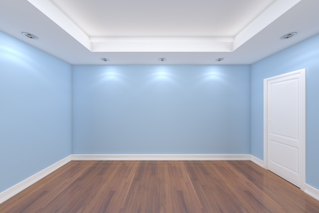 Home interior rendering with empty room color wall and decorated door with wooden floors.