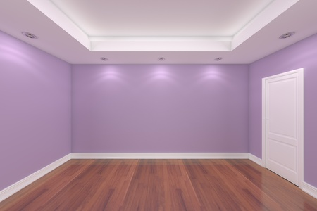 interior design living room: Home interior rendering with empty room color wall and decorated door with wooden floors.