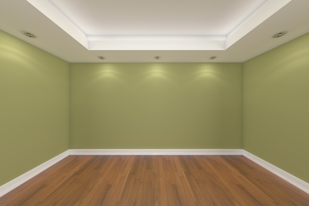 Home interior rendering with empty room color wall and decorated with wooden floors.