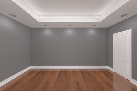 Home interior rendering with empty room color wall and decorated door with wooden floors.  photo