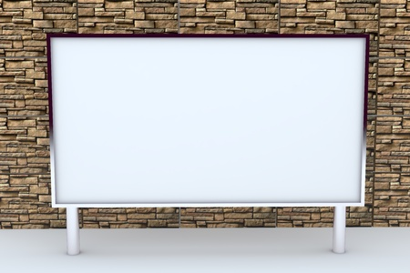 blank big box display new design aluminum frame template for design work, on stone background.