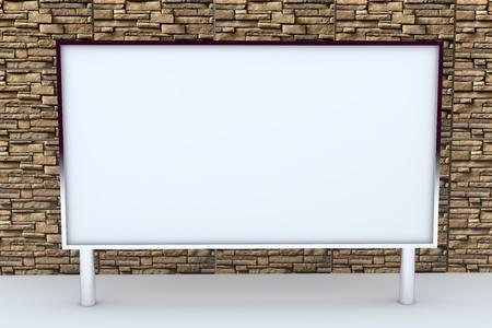 pantalla en blanco gran caja de aluminio de nuevo dise�o marco de plantilla para el trabajo de dise�o, en el fondo de piedra.