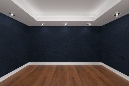 Home interior rendering with empty room color grunge wall and decorated with wooden floors.  Stock Photo