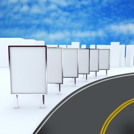 도로에 간판., 빈 상자 디자인 작업을위한 새로운 디자인의 알루미늄 프레임 템플릿을 표시합니다.