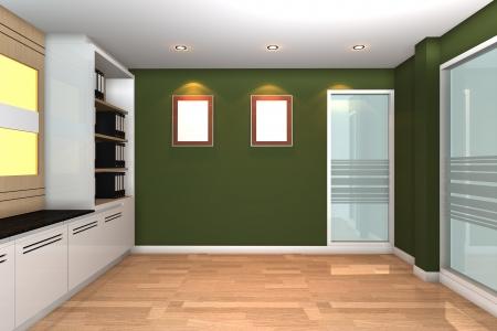 녹색 벽 현대 비즈니스 사무실 빈 인테리어.