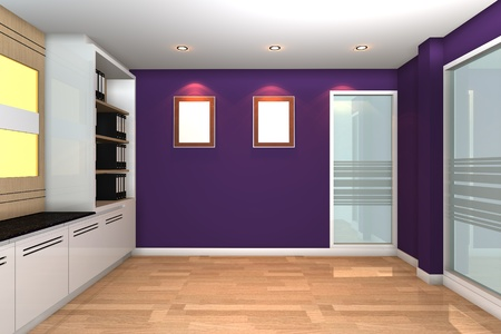 Empty interior for modern business office with purple wall. photo