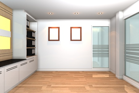 Empty interior for modern business office with white wall. photo