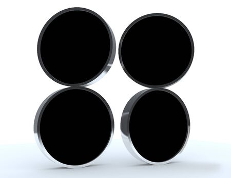 Four blank black rounded box display new design aluminum frame template for design work, on white background. Stock Photo - 12054625