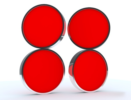 Four blank red rounded box display new design aluminum frame template for design work, on white background. photo