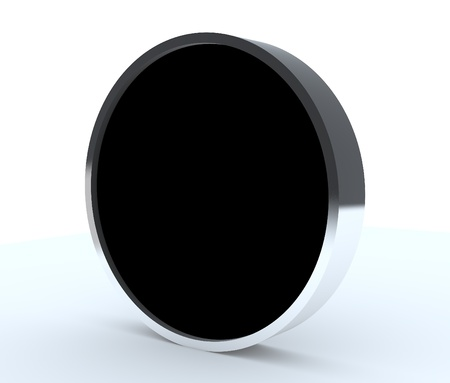 One blank black rounded box display new design aluminum frame template for design work, on white background. Stock Photo - 12054579