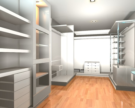 walk in closet: Empty interior  modern room for walk in closet with shelves and white wall.