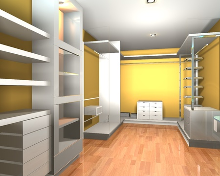 Empty inter  modern room for walk in closet with shelves and yellow wall. Stock Photo - 12203445