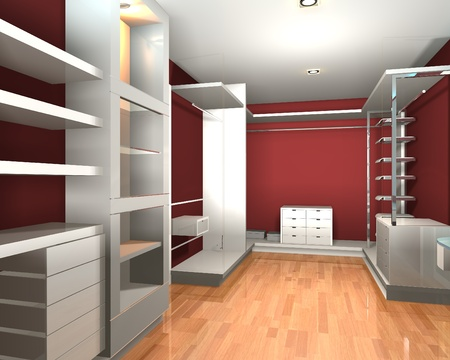 Empty interior  modern room for walk in closet with shelves and red wall. Stock Photo