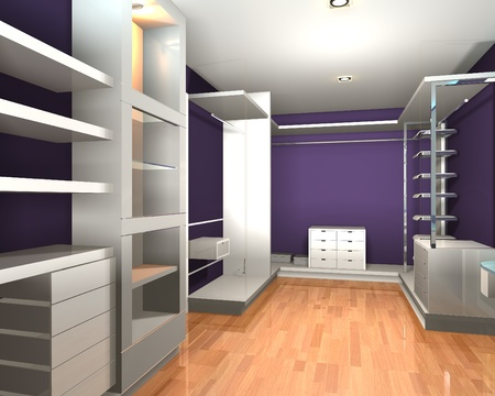 walk in closet: Empty interior  modern room for walk in closet with shelves and purple wall.
