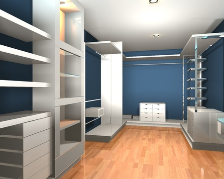 walk in closet: Empty interior  modern room for walk in closet with shelves and blue wall.