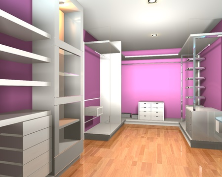 walk in closet: Empty interior  modern room for walk in closet with shelves and pink wall.
