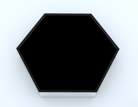 One blank black hexagon box display new design aluminum frame template for design work, on white background. photo
