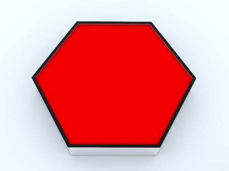 One blank red hexagon box display new design aluminum frame template for design work, on white background. Stock Photo - 12203524