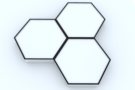 Three blank hexagon box display new design aluminum frame template for design work, on white background.