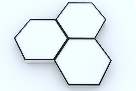 Three blank hexagon box display new design aluminum frame template for design work, on white background.