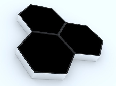 Three blank black hexagon box display new design aluminum frame template for design work, on white background. Stock Photo - 12203579
