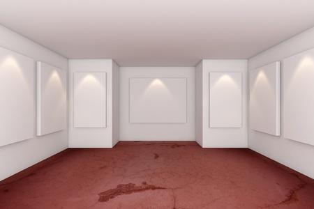 그런 레드 콘크리트 바닥 갤러리 인테리어 룸 스톡 사진