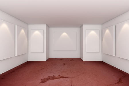 Gallery Interior Room With Grunge Red Concrete Floor photo