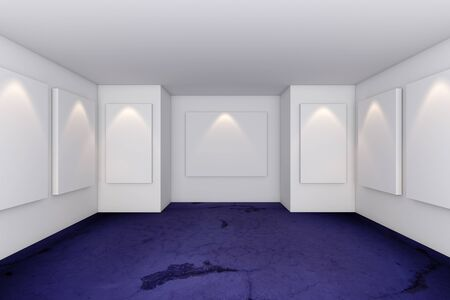Gallery Interior Room With Grunge Violet Concrete Floor Stock Photo - 12203637