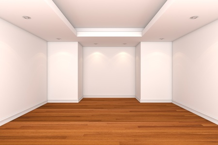 Home interior rendering with empty room decorate color wall with wooden floors.